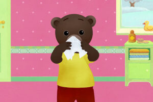 ikukids-apprendre-a-se-moucher-avec-petit-ours-brun-medecin-enfant-pediatre-rhume